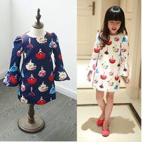 5pcs/lot 2015 spring autumn new arrival girls printed princess dress kids long sleeve dresses 1144