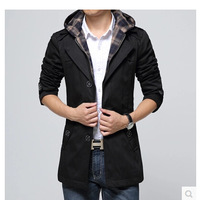 free shipping  men's  clothing outerwear male with a hood slim outerwear male medium-long commercial casual clothing