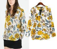 Chiffon V-Neck Shirt Women Blouses Long Sleeves Elegant Floral Woman Clothes Cheap Clothing China 2015 New Casual Women Tops