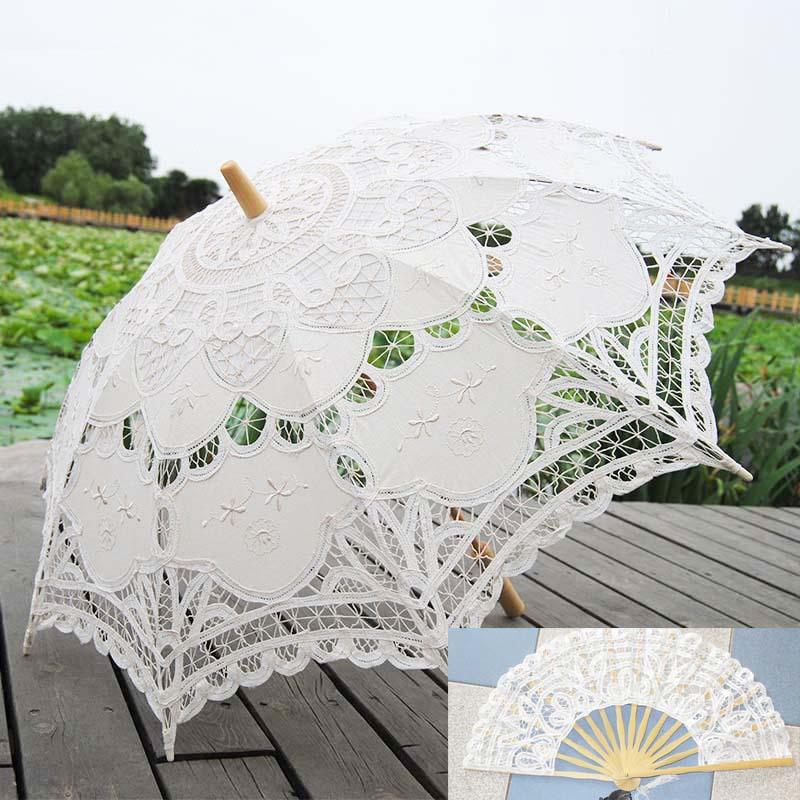 Ventilador de mão do laço branco e de casamento do guarda-chuva em estoque rendas guarda-sóis de noiva e Fan Wedding Party Decoration XNS004WT + XNS006WT(China (Mainland))