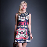 2015 spring and summer fashion dress Europe fashion boutique beaded waist strap dress with sequins