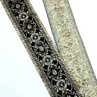 4cm 40mm 1-5/8'' black grain boundary Costume embroidery lace webbing national jacquard woven ribbon flower gold blink metallic
