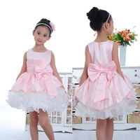 2015 spring 3D bow flower wedding gowns for kids toddler baby new fantasia girls sleeveless celebrity party club evening dress