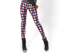 2015 Spring Colorful Plaids Geometric Diamond Leggings Fitness Leggins Punk Fahsion Sexy Ladies Pants Wholesale S106-634
