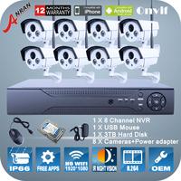 P2P 8CH NVR system 1080P 2.0 Megapixel Wireless WIFI Camera 2 Array IR Night Vision ONVIF H.264 Video Surveillance Security Kit