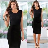 2015 Summer  New Fashion Sexy Patchwork Lace Women's Dress Sleeveless Female Dresses