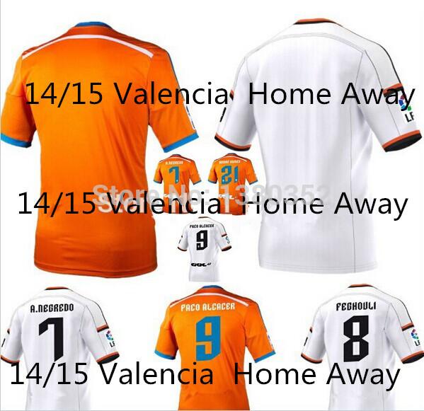 3A +++ 2015 Valencia # 9 PACO ALCACER # 7 A.NEGREDO white and orange shirt 1415 Valencia home and away soccer jerseys(China (Mainland))