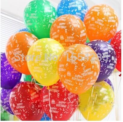 Free shipping 10pcs/lot 12inch Birthday Party Decoration Ballons Latex Round helium Balloon happy birthday printed balls globos(China (Mainland))