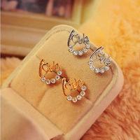 fashion Rhinestone heart love letter ear stud earrings