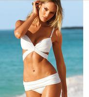 Crazy promotion beach bikini sexy bandage push up bandeau swimwear women 2015 swimsuit the bathing suit beachwear Free shipping