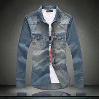 Men Denim Shirt 2015 New Arrive Man Jean Shirts Plus Large Size 5XL 4XL 3XL 2XL Casual Slim Dress Shirt