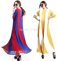 NEW WOMEN STRIPED FULL SWEEP CHIFFON MAXI DRESS LOOSE SHEER LONG GOWN CRUISE