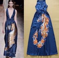 European 2015 Runway Designer Long Dress Women's High Quality Sleeveless Deep V-neck Stylish Printed Maxi Holiday Resort Dress