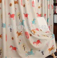 Curtain cartoon shade cloth child curtain fabric voile+cloth free shipping