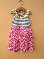 8PCS/LOT counting daisies 4-7 years girl sleeveless chiffon  tiered dresses