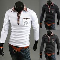 2015 new brand free shipping mens tshirt long sleeve slim fit  tshirts solid turn-down collar button mens  casual tshirt PPY12