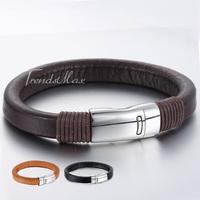 9mm Mens Womens Unisex Ochre Orange Black Brown Fashion Man-made Leather Bracelet Wristband Magnetic Clasp Wholesale Gift LBM78