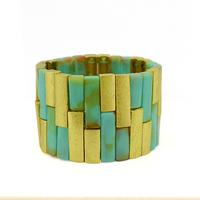Bohemian vintage gold metal geometric stretch wrap bracelets women personalized resin gem wide bracelet jewelry