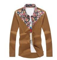 Mens Cotton Shirts Fashion New Casual Slim Floral Decoration Man Shirt Plus Size 5XL 4XL 3XL Camisa Masculina