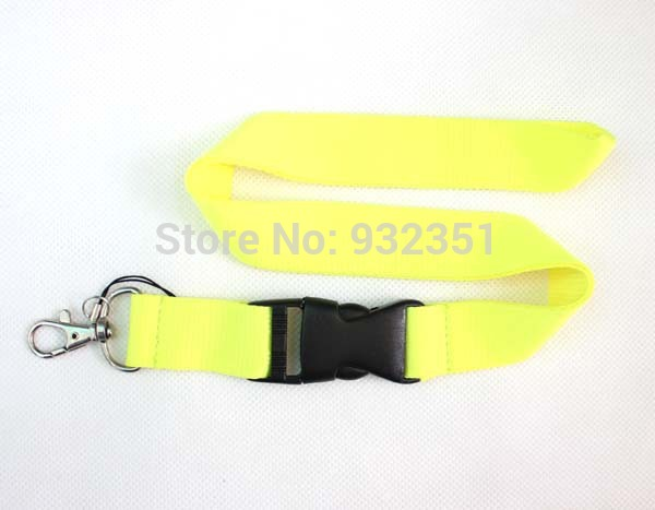 Colourful Solid Colours Buckle Strap Style Neck Lanyard yellow(China (Mainland))