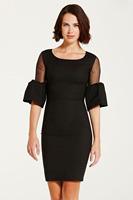 women sexy hollow flare sleeve black work wear office lady spring autumn winter dress
