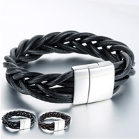 14mm Surf Womens Mens Unisex Brown Black Braided Woven Man-made Leather Bracelet Wristband Magnetic Clasp Wholesale Gift LBM84