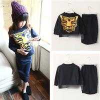 5sets/lot 2015 spring autumn fashion 2 pieces sets kids tiger head hoodies+skirt 1157
