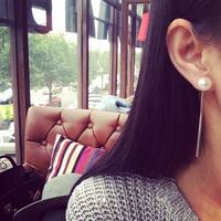 Korea Value 4 pieces set simple metal tassel created diamond pearl earrings