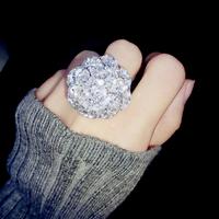 Exclusive high-end custom jewelry luxury full-zirconium created diamond strobe level camellia ring