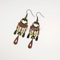 Bohemia vintage bronze long crystal water drop tassel earrings colorful beads dangle earrings jewelry for women