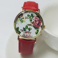 Hot-selling sportsFashion casual big flower leather student watch women's rhinestone Dress Watches