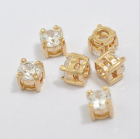 T15130023, 20PC/lot, DIY Accessory, New Hollow Copper Mini Single Claw Crystal Square charms findings Components, Free shipping