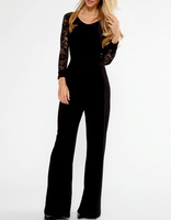 Black Fashion Sexy Jumpsuit Autumn Flared Pant Lace V back long Sleeve Macacao Overalls for Women B5032 Fshow