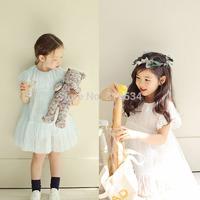 Hot Sale Korean girls princess lace dresses children cute short sleeve one piece kids summer clothing wholesale white blue