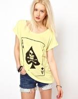 Free shipping 2015 new  Fashion poker spades A wide skull print short-sleeved round neck T-shirt Women Beige  QZ2563