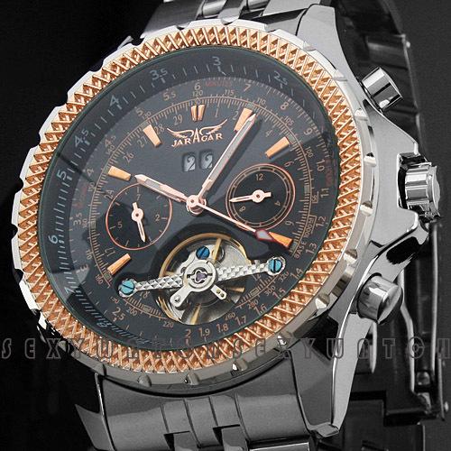 Большой набор из нержавеющей стали большой механические часы дата дисплей известный лучший бренд золото мужчины автоматическая парящего турбийона часы