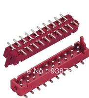Free Shipping 100Pin 20Pin 1.27mm Micro Match Dip Plug IDC, 20P,Tin Plated, PBT, Red