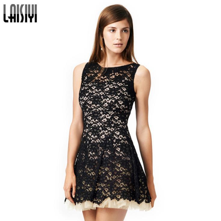2015 High End Fashion Designers Women Backless Lace Slim Dress O-Neck Sleeveless Dress Sexy Mini Renda Feminina Vestido DR1600 (China (Mainland))