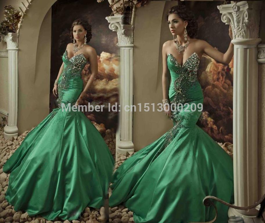 Зеленый атласная русалка пром платья