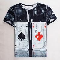 (Alice)free shipping Man spring 2015 poker painting T-shirt blazer men  t shirt shirts atacado de roupas brand item top tees
