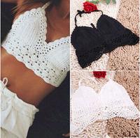 Women Handmade Beachwear Floral Crochet Bustier Crop Top Vintage Sexy Hollowout Camisole Strap Bralet  Tops Tees Vest  Shirt X11