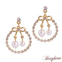 2015 New Fashion Women Shiny Crystal Cute Bow-knot Shape Pearl Pendants 18K Gold Plated Earrings