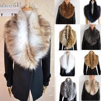 Stole Cape False Collar Scarves 2015 New Womens Luxurious Shrug Winter Big Faux Fur Collar Scarf Warm Shawl Wrap Coat T22-40