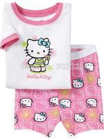 2015 Baby Girl Hello Kitty Clothing Set Summer Pajamas Pyjamas Shorts Set Pink Kids Sleepwear Cotton Night suit Clothes For Girl