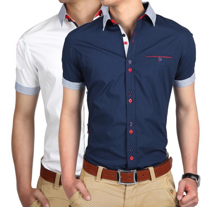 2015 marca homens camisas vestido de manga curta homens moda qualidade negócios Designer Patchwork Casual Camisa Slim Fit homens sociais Camisa(China (Mainland))