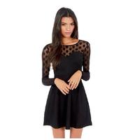 2014 Autumn Fashion Sexy Elegant Black Lace Polka Dot Patchwork O-neck Long-sleeve Female Dresses