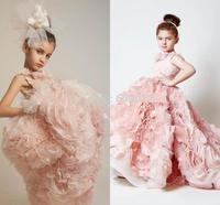 AFB343 2015  Best Selling    Ball Gown Ruffles Organza Pink Flower Girl Dresses Girls Princess Dresses Custom Made