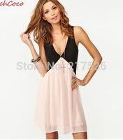 Fashion 2015 colorant match the back cutout V-neck sleeveless chiffon vest one-piece  elegant summer brand good quality dress