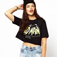 Free shipping 2015 new  Sexy Batman European and American lo shi short paragraph printed round neck short sleeve T-shirt  QZ2548