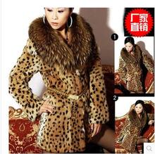 Fashion Famous Brand Leopard Print Fur Coat Women Casual Raccoon Fur Collar Thick Cotton Long Jacket Plus Size Overcoat S1284(China (Mainland))